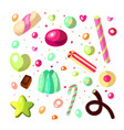 sweet cartoon candy set collection of sweets vector image vector image
