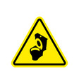 warning wc toilet bowl on yellow triangle road vector image vector image