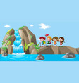 waterfall scene with kids hiking up vector image vector image