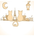 Sitting cats bright invitation vector image