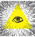 All seeing eye pyramid Freemason and spiritual vector image