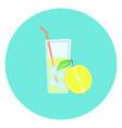 glass of fresh yellow lemon lemonade with ice icon vector image