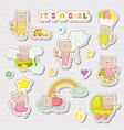 baby girl stickers patches for baby shower party vector image vector image