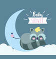 bashower cute raccoon sleeping on half moon vector image vector image
