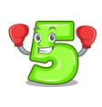 boxing character number five at wooden door vector image vector image