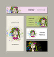 business cards design floral fairy vector image