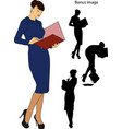 business girl with a folder vector image vector image