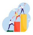 business people climbing up financial graph vector image vector image