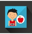 cartoon boy athlete with flat apple vector image vector image