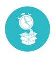 circle light blue with cardboard box and stopwatch vector image vector image
