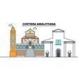 costiera amalfitana line travel landmark skyline vector image vector image