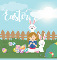 cute girl with easter bunny vector image