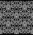 damask style floral ornamental black and white vector image vector image