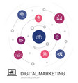 digital marketing colored circle concept with vector image vector image