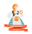 girl with a beer and pretzel vector image