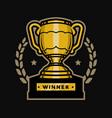 gold cup trophy emblem logo vector image