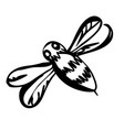 graphic silhouette honey bee isolated on vector image