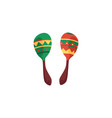 green and red cartoon maracas - colorful mexican vector image vector image