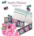 happy birthday card with macaroons and peony vector image