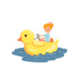 happy girl enjoying water rides on a floating vector image