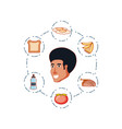 head of young man with set icons vector image vector image