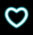 heart contour neon or blue glow radiant effect of vector image
