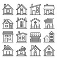 house icons set on white background line style vector image