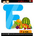 letter f with fruits cartoon vector image vector image