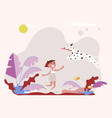 little girl pet owner plays with her small dog vector image vector image