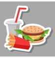 Lunch french fries burger and soda Flat design vector image vector image