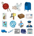 mail and postman cartoon icons in set collection vector image vector image