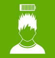 man with low battery over head icon green vector image