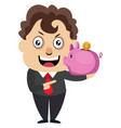 man with piggy bank on white background vector image vector image