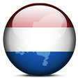 Map on flag button of Kingdom of the Netherlands vector image