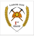 May 1st Labor Day Crossed picks and helmet vector image
