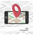 Mobile phone with GPS mark on the map vector image vector image