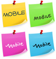 Mobile Text on Sticky Note vector image vector image