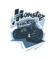 monster truck logo in hand drawing style vector image