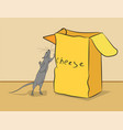 mouse is climbing into a box of cheese vector image