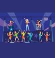 nightclub clubbing people with drinks dancing vector image vector image