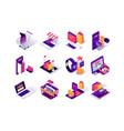 online shopping isometric icons set vector image