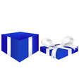 open gift box blue box with red silk ribbon vector image vector image
