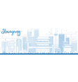 Outline Shenyang Skyline with Blue Buildings vector image vector image