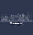 outline varanasi india city skyline with white vector image vector image