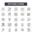 picture line icons signs set outline vector image vector image