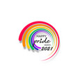pride month 2021 round logo with rainbow flag vector image