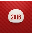 Realistic New Year white circle Sticker 2016 Text vector image vector image