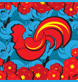 red rooster new yer zodiac symbol on blue vector image