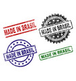 scratched textured made in brasil seal stamps vector image vector image