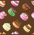 seamless pattern with different cakes vector image